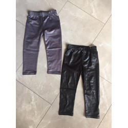 Lederlook legging grijs